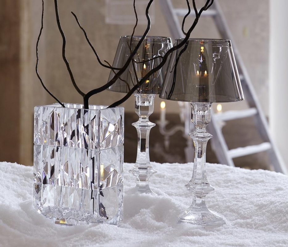Crystal vases LOUXOR by THOMAS BASTIDE; crystal candle holder OUR FIRE by PHILIPPE STARCK